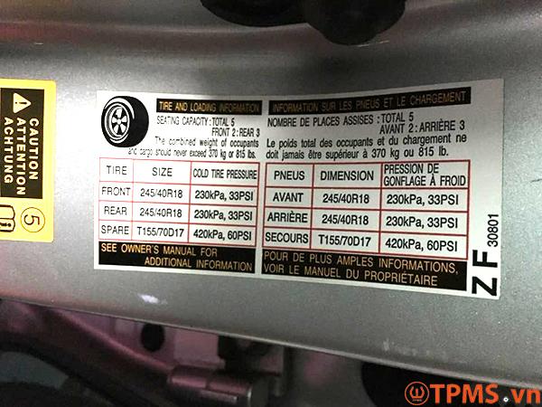 Cảm biến áp suất lốp Lexus GS350 2008
