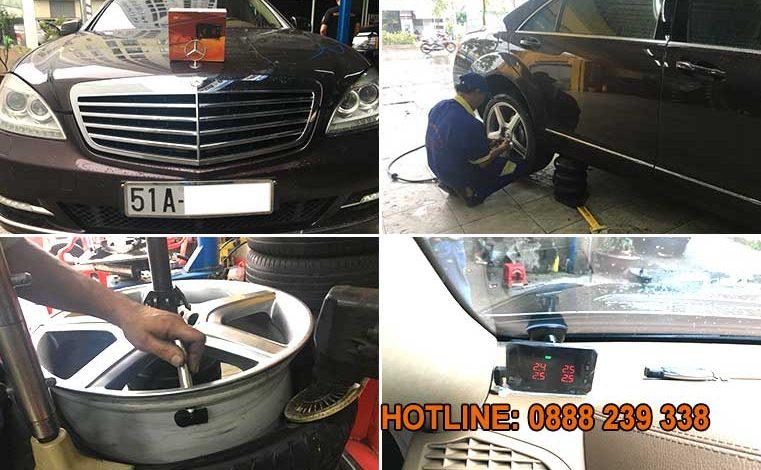 Lắp đặt cảm biến áp suất lốp Mercedes S600h 2001