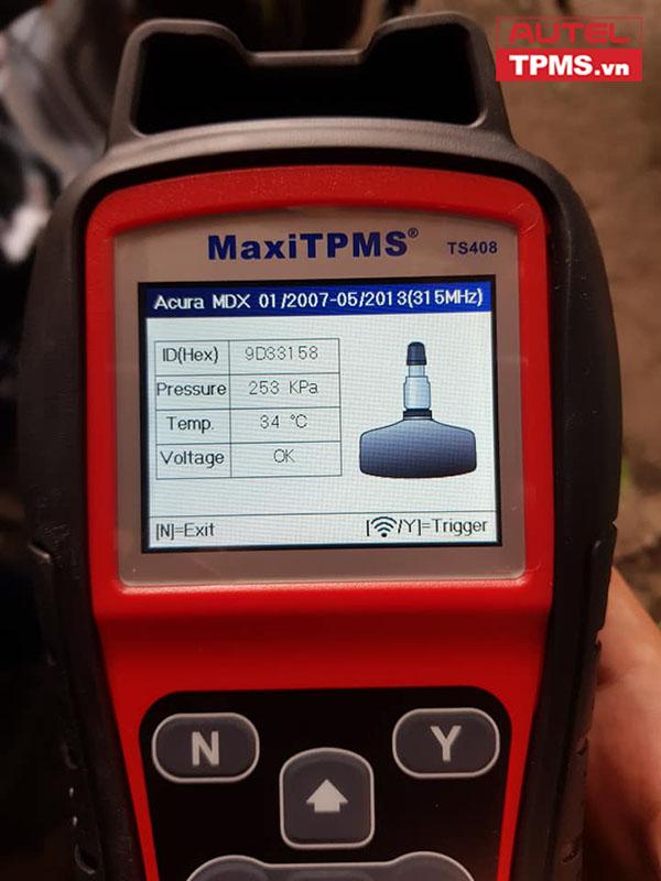 Cài đặt cảm biến áp suất lốp Acura MDX 2007