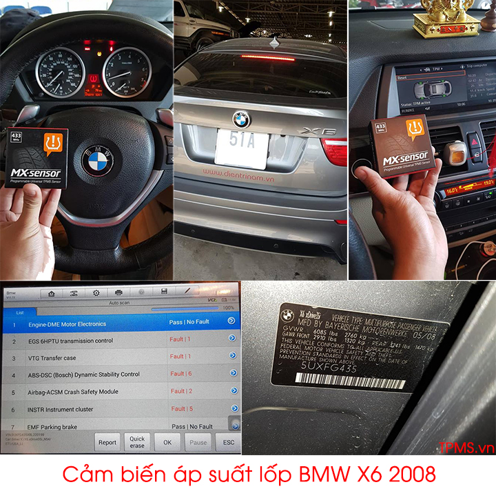 cảm biến áp suất lốp bmw x6 2008