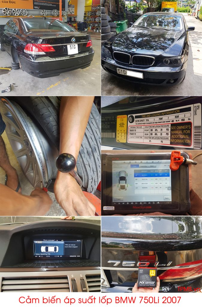 Cài đặt cảm biến áp suất lốp BMW 750Li 2007
