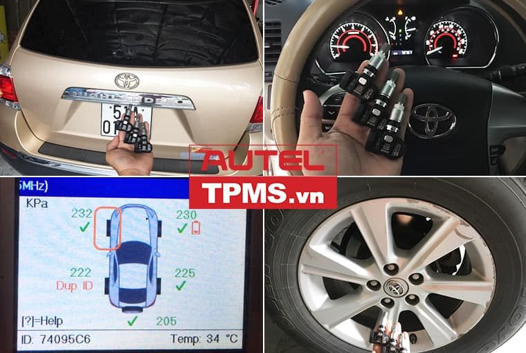 Thay van cảm biến áp suất lốp Toyota Highlander 2011